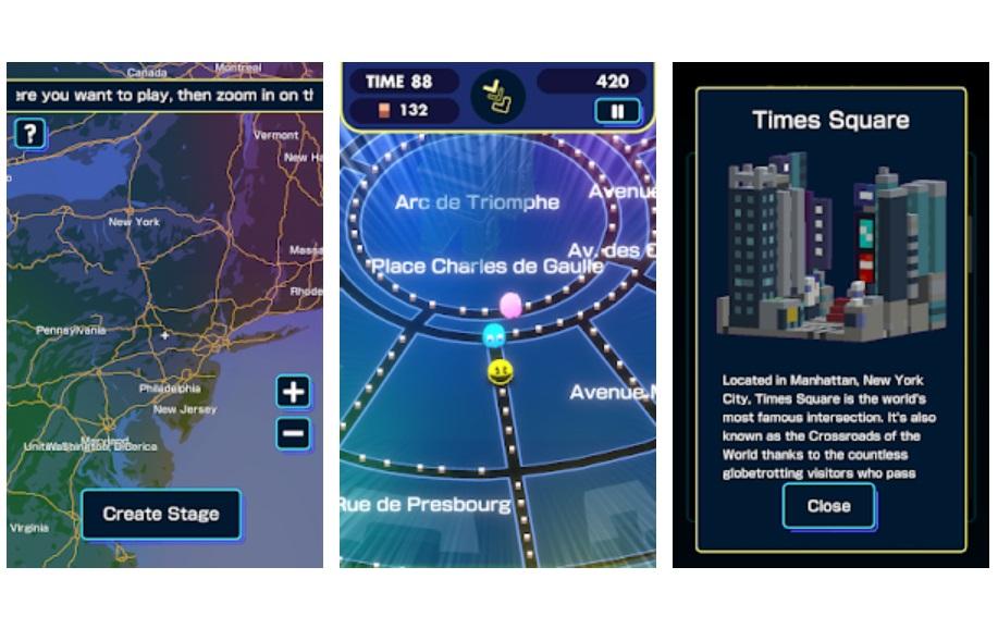 Google Maps com fases de Pac-Man em Jogo de realidade aumentada 1