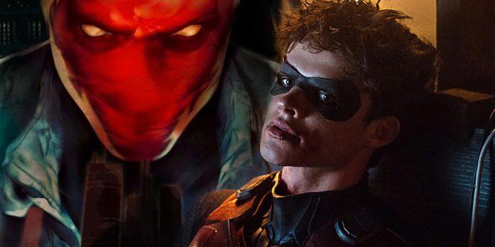 Titãs: Capuz Vermelho sobe enquanto os heróis caem na foto do conjunto da 3ª temporada