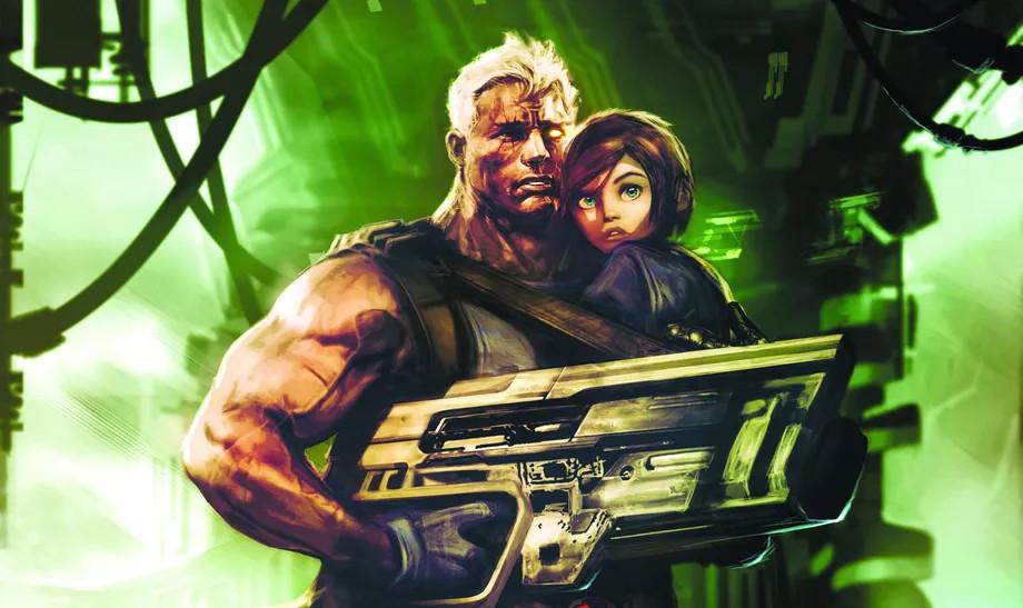 Cable and Hope, em uma homenagem a Aliens da capa de Cable # 18 (2009). Dave Wilkins / Marvel Comics